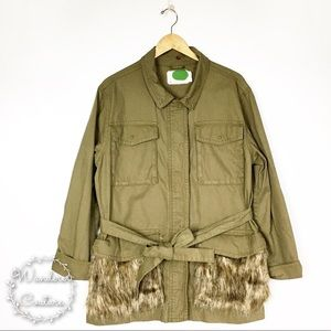 Anthro Faux Fur Trimmed Utility Jacket